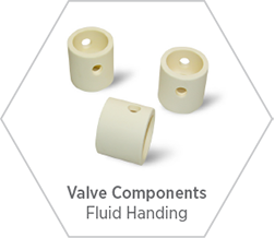 High-purity alumina ceramic components for use in valves in various industries including oil & gas, chemical production, and other markets where high temperature performance is required