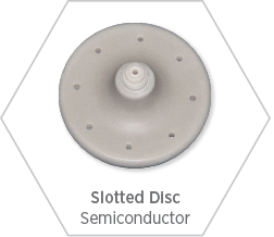 Aluminum nitride slotted disc for use in the semiconductor manufacturing equipment as it dissipated heat and insulates exceptionally well.