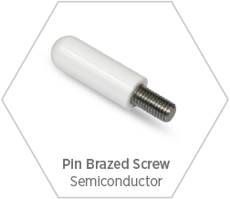 Zirconia ceramic tip and brazed steel screw for use in semiconductor manufacturing equipment