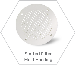 Zirconia slotted filter for fluid handling applications