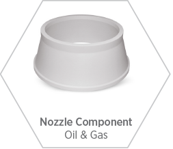 Nozzle component made from zirconia toughened alumina for use in harsh environments including oil & gas, petrochemical, and more.